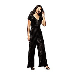 Yumi - Black striped velvet jumpsuit
