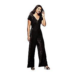 Yumi - Black striped velvet jumpsuit