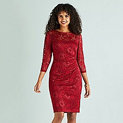 Yumi - Red floral lace 'Elneta' bodycon dress