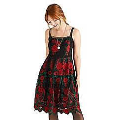 Yumi - Black floral print 'Zaara' skater dress