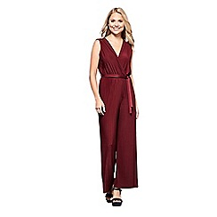 Yumi - Red sleeveless pleated jersey jumpsuit