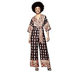 Yumi - Black paisley pattern kimono jumpsuit