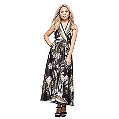 Yumi - Black floral striped print 'Alys' maxi dress