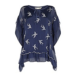 Yumi - Blue embroidered bird frilled top