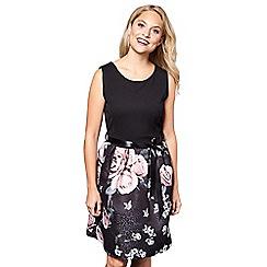 Yumi - Black floral print 'Aila' mini jacquard skater dress