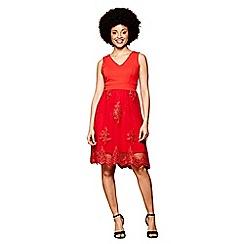 Yumi - Red lace sequin 'Milla' mini skater dress