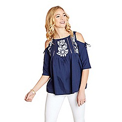 Yumi - Navy embroidered cold shoulder top