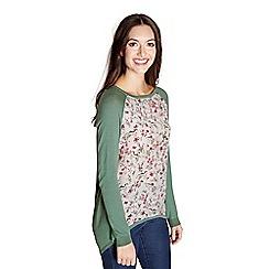 Yumi - Green woven side bird print jumper
