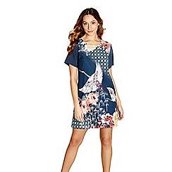 Yumi - Blue heron print 'Vada' tunic dress