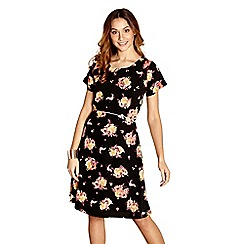 Yumi - Black floral piping 'Anaiah' skater dress