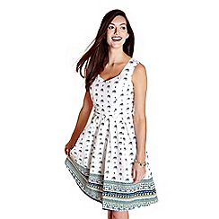 Yumi - Ivory printed 'Nona' sleeveless skater dress