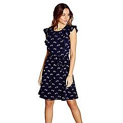 Yumi - Navy zebra print 'Ocena' sleeveless skater dress