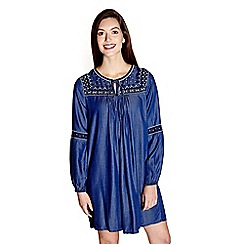 Yumi - Blue embroidered 'Mada' mini denim tunic