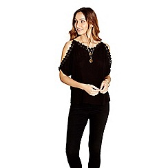 Yumi - Black cold shoulder crochet trim top