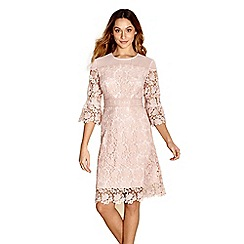 Yumi - Mid rose floral lace 'guinevere' shift dress