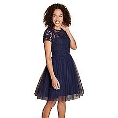 Yumi - Navy lace mesh 'hertha' prom dress