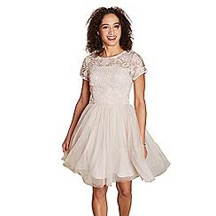 Yumi - Beige lace mesh 'hertha' prom dress