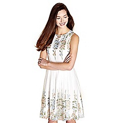 Yumi - Ivory embroidered flower 'hettie' prom dress