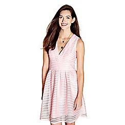 62575_YM88705: Pink fishnet stripe Anita skater dress