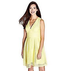 Yumi - Yellow fishnet stripe 'Anita' skater dress