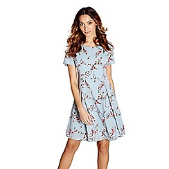 Yumi - Light blue floral bird print 'joanne' tunic dress