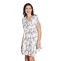 Yumi Curves - Ivory floral print 'Gia' plus size tunic dress