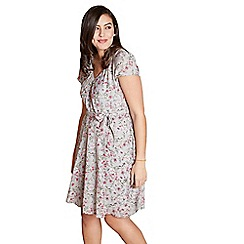 Yumi Curves - Grey floral print 'Ilona' skater dress