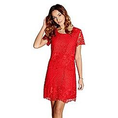 Yumi - Red floral lace 'hulda' tunic dress