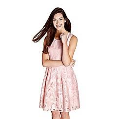 Yumi - Mid rose pattern 'Lilac' sleeveless skater dress