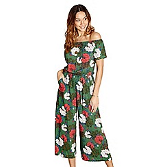 Yumi - Green floral print culottes jumpsuit