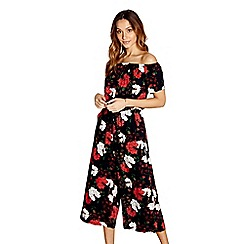 Yumi - Navy floral culottes jumpsuit