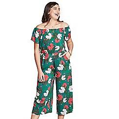 Yumi Curves - Green floral culottes plus size jumpsuit