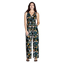 Yumi - Black tropical pineapple print wrap jumpsuit