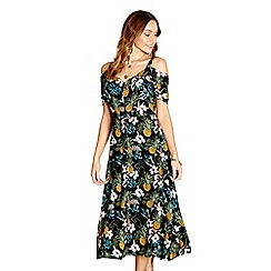 Yumi - Black tropical print 'Anaisa' dress