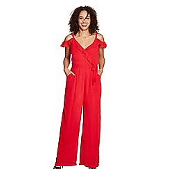 Yumi - Red cold shoulder ruffled jumpsuit
