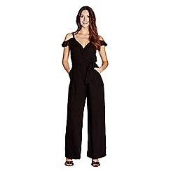 Yumi - Black cold shoulder ruffled jumpsuit