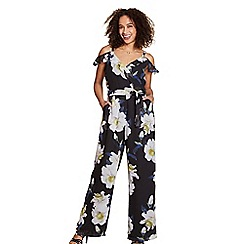 Yumi - Multi-coloured floral print wrap over jumpsuit