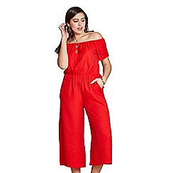 b21e082143 Yumi Curves - Red off the shoulder plus size culottes jumpsuit