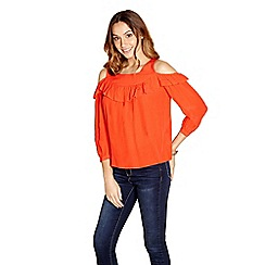 Yumi - Red ruffle front cold shoulder top