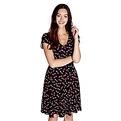 Yumi - Black tulip 'ilene' skater dress