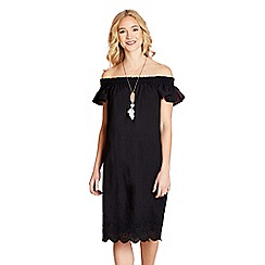 Yumi - Black broidery anglaise 'Vader' tunic dress