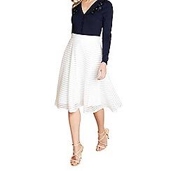 Yumi - White fishnet striped skirt