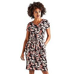Yumi - Black peony tie front jersey 'Vanelly' dress