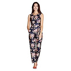 Yumi - Navy floral print 'Madaio' jersey jumpsuit