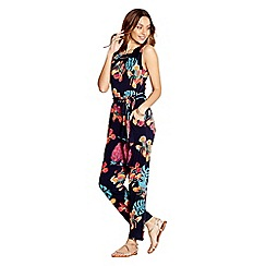 Yumi - Navy tropical leaf jumpsuit