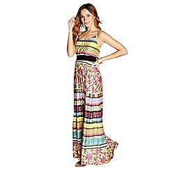 Yumi - Yellow striped floral 'Vadis' maxi dress