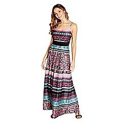 Yumi - Pink striped floral print 'Valentia' maxi dress
