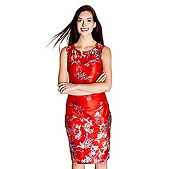 Yumi - Red floral print 'Merry' ruched jersey dress