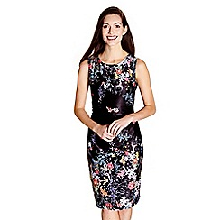 Yumi - Black floral print 'Merry' ruched jersey dress