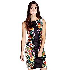 Yumi - Black floral print 'Melody' ruched bodycon dress